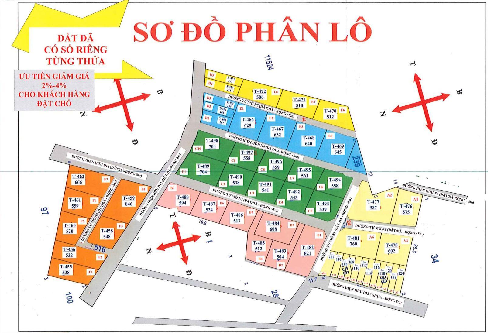 Sơ đồ phân lô dự án Đất nền Tóc Tiên Town 1 thị xã Phú Mỹ Bà Rịa Vũng Tàu